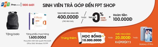Ngoài trả góp 0% lãi suất, chọn mua laptop tại FPT Shop, bạn còn được giảm ngay 100.000 đồng, tặng balo laptop, voucher 1,6 triệu và quay số 100% trúng quà lên đến 10 triệu