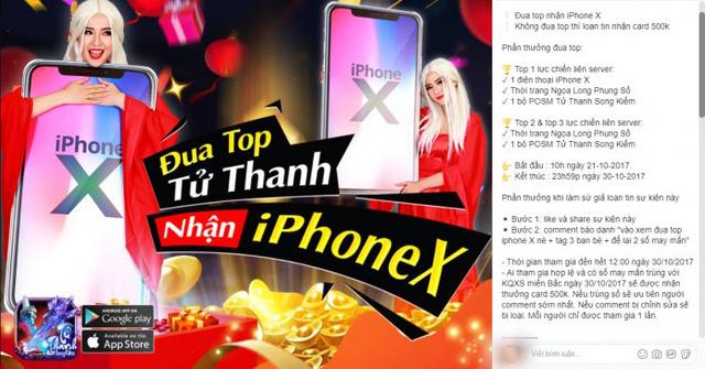Chiếc Iphone X sẽ về tay ai trong cuộc đua top Tử Thanh Song Kiếm ?
