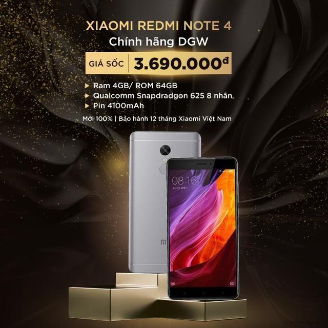 Điện thoại Xiaomi Redmi Note 4 4GB/64GB giảm còn 3,69 triệu đồng