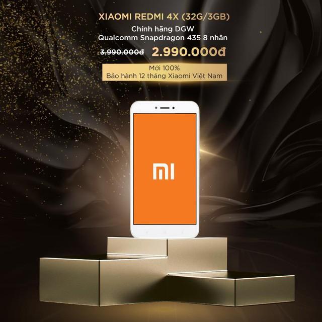Điện thoại Xiaomi Redmi 4X (32G/3GB) từ 3,99 triệu đồng giảm còn 2,99 triệu đồng