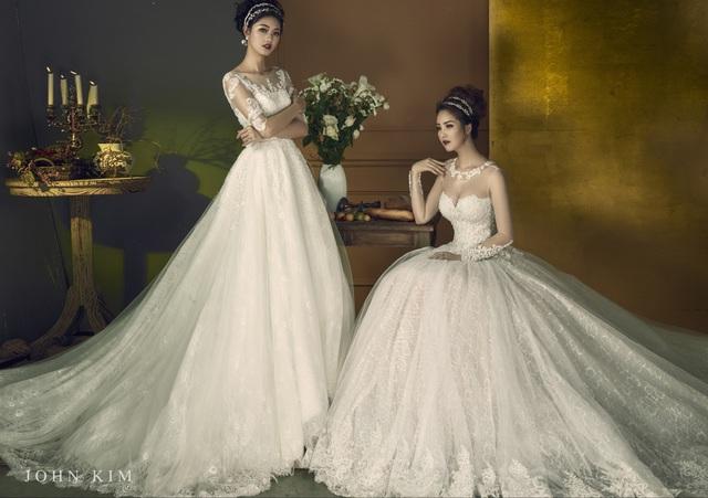 Á hậu Thanh Tú, Thụy Vân lạc vào xứ sở thần tiên với BST váy cưới cổ tích tuyệt đẹp - Ảnh 5.