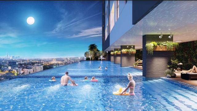 Thiết kế hiện đại, hệ thống tiện ích đồng bộ với: bể bơi tràn thác mây, phòng tập gym & spa đẳng cấp, khuôn viên cây xanh rộng thoáng,… tại dự án The Golden Palm.