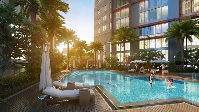 Bể bơi ngoài trời đảm bảo sự tiện nghi cho cư dân Imperial Plaza.