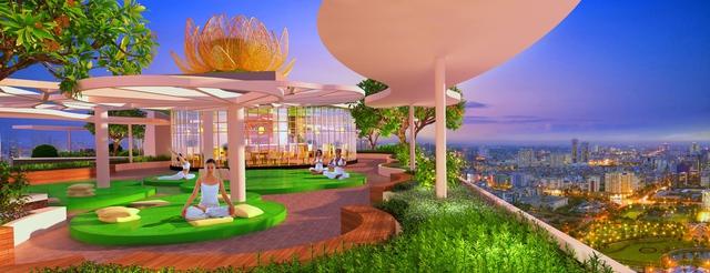 Vườn thiền trên không Zen Lotus Garden.