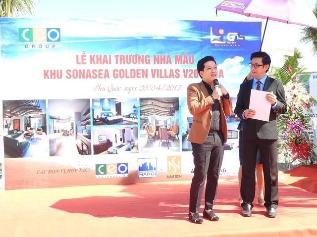 Nghệ sĩ Trường Giang chia sẻ tại lễ khai trương biệt thự mẫu.