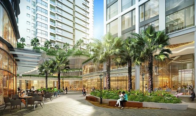 Điểm nhấn của Gateway Thao Dien là khu sân vườn cảnh quan đẹp tại tầng trệt, nơi tập trung những nhà hàng, quán café, theo tiêu chuẩn quốc tế (Ảnh phối cảnh).