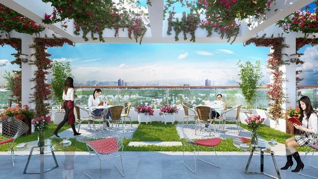 Vườn treo và Café Rooftop là một trong những điểm nhấn của Valencia Garden.