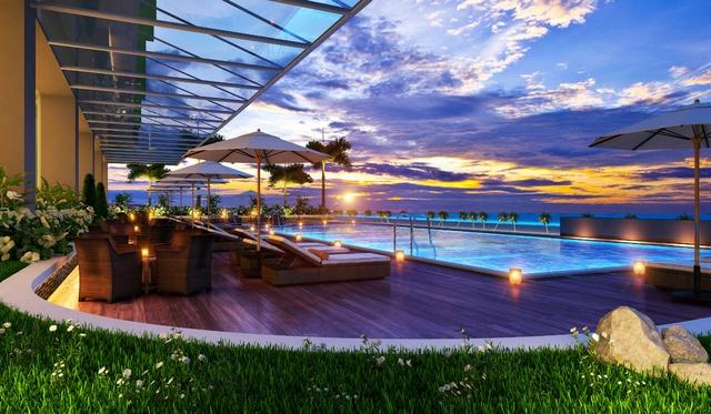 Dự án cao 28 tầng với 394 căn hộ - khách sạn có diện tích từ 49 – 114m2 và gần 50 dịch vụ-tiện ích cao cấp phục vụ du khách.