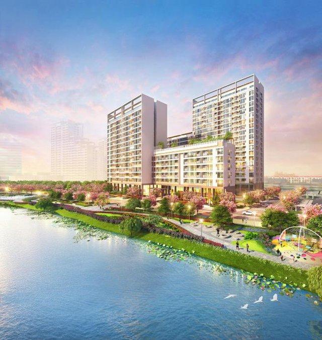 """The Symphony là công trình căn hộ thứ hai của Khu phức hợp Phú Mỹ Hưng Midtown. Công trình có giá trị """"kép"""" bởi vị trí """"trung tâm của trung tâm"""", kết nối trực tiếp công viên hoa anh đào Sakura Park."""