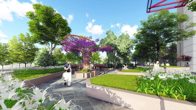 Phối cảnh góc sân vườn dự án 360 Giải Phóng.