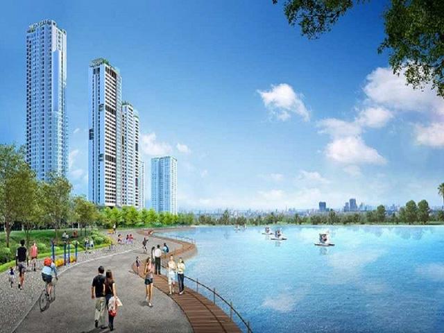 """Hồ điều hòa rộng 7.200 m2 được ví như """"lá phổi xanh"""" thanh lọc không khí cho toàn bộ dự án và khu vực xung quanh."""