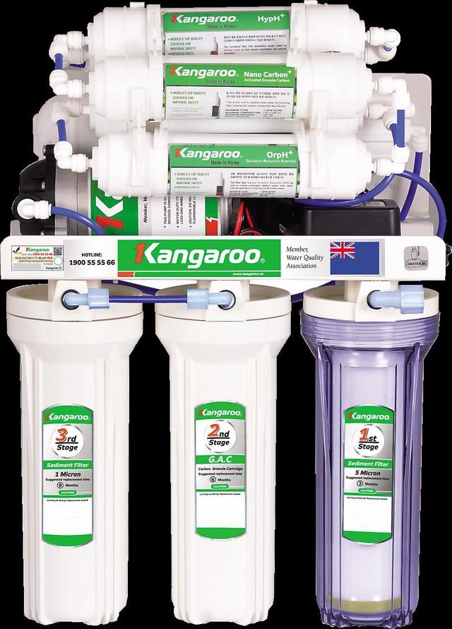 Cấu tạo đồng bộ của máy lọc nước Kangaroo Hydrogen từ các lõi lọc, bơm áp, adapter đến van từ cút nối tự làm kín.