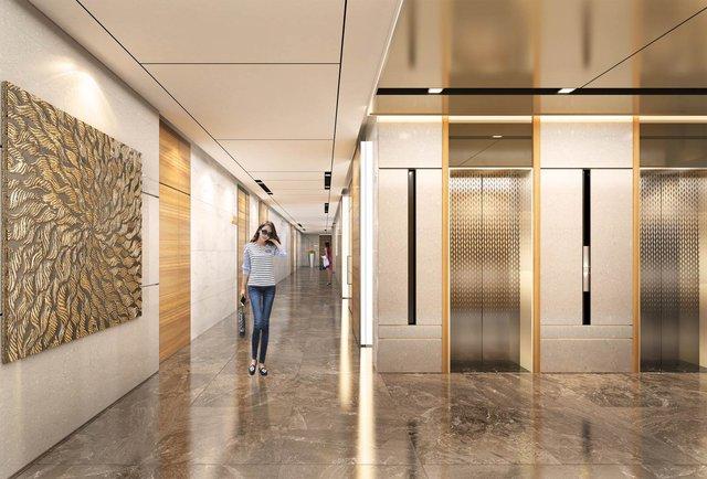 Các khu vực sảnh tiếp tân, thang máy… được thiết kế, trang trí theo tiêu chuẩn khách sạn hạng sang.
