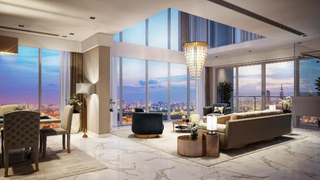 Toàn bộ sàn phòng khách tại căn hộ Maldives được lát đá marble nhập khẩu.
