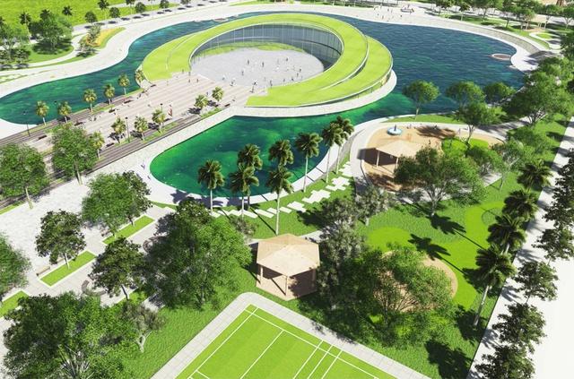 Nhà liền kề Đô Nghĩa nằm kế bên công viên âm nhạc lấy cảm hứng từ hồ điều hòa hình cây đàn Ghi-ta rộng 3,6ha.