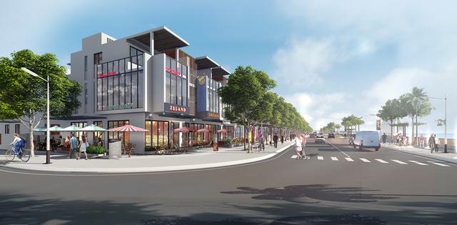 Mẫu nhà phố nghỉ dưỡng kết hợp kinh doanh thương mại nằm ngay mặt tiền đường ven biển rộng 25m của Vietpearl City.