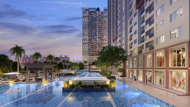 Hồ bơi tràn rộng đến 2.000 m2 tại khu căn hộ cao cấp The Park Residence.
