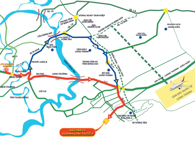 Vị trí địa lí của Dự án Khu dân cư Alibaba Long Phước 6 – Nơi đầu tư hoàn hảo.