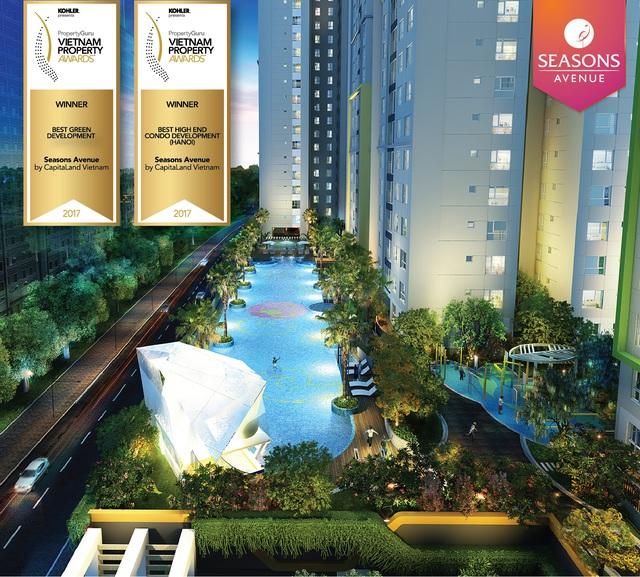 Seasons Avenue cùng lúc nhận 2 giải thưởng Dự án Xanh tốt nhất (Best Green Development) và Dự án Chung cư cao cấp tốt nhất khu vực Hà Nội (Best High End Condo Development) tại PropertyGuru Vietnam Property Awards – Giải thưởng Bất động sản Việt Nam 2017.