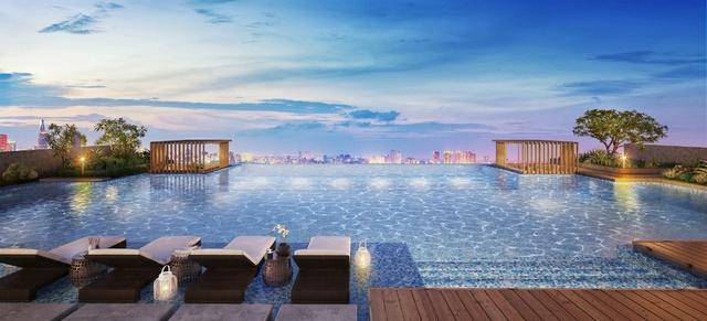 Hồ bơi chân mây view toàn cảnh thành phố.