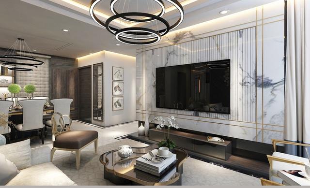 """""""Nghệ thuật sống thượng lưu"""" được thể hiện mạnh mẽ nhất trong thiết kế nội thất căn hộ tại Sunshine City."""