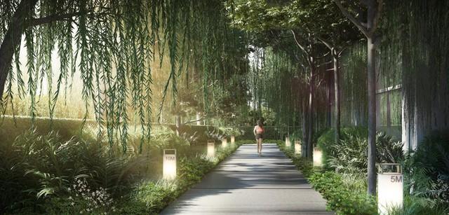 Vườn chạy bộ và đạp xe tại d'Edge Thảo Điền.