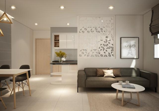 Không gian sống bên trong căn hộ Marina Tower được bố trí thông minh.