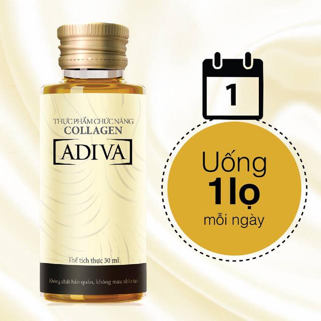 Chỉ cần dùng 1 lọ Collagen ADIVA mỗi ngày là đủ lượng collagen cần thiết để đẩy lùi khô sạm, ngăn ngừa nếp nhăn.