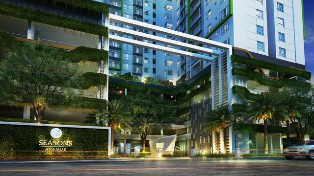 Cồng chào mùa Xuân – tòa S1 của dự án Seasons Avenue.