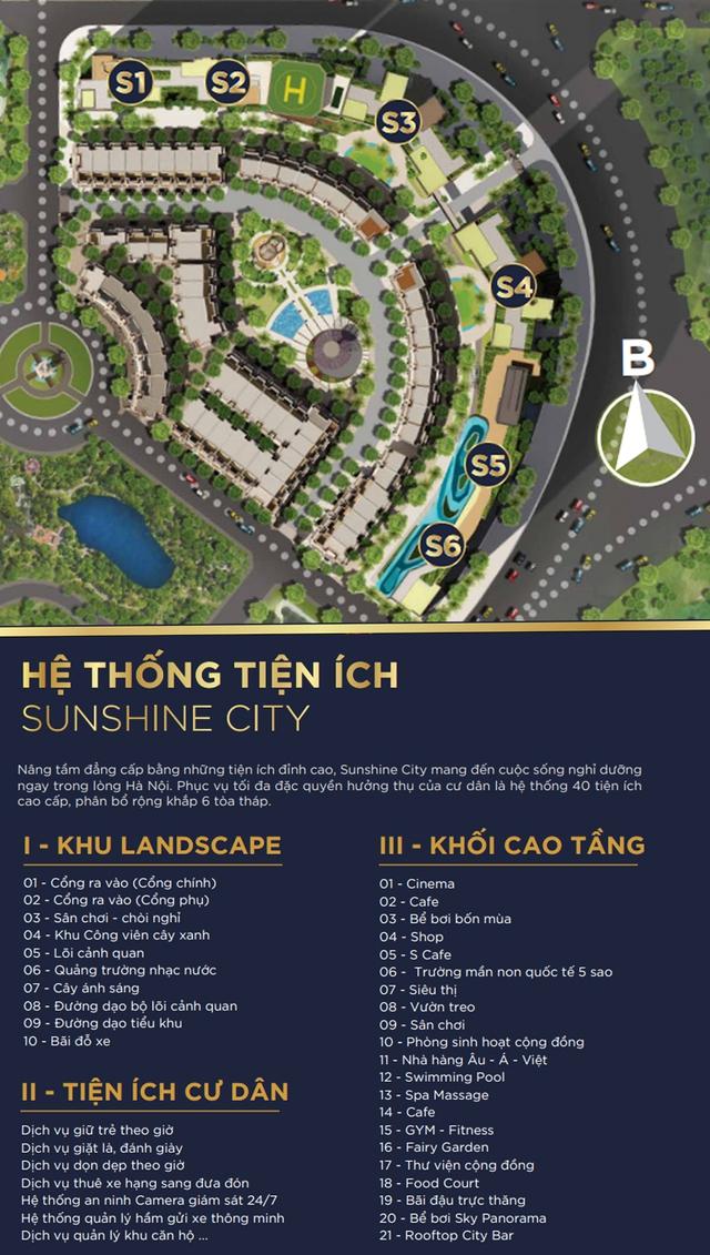 Dải tiện ích đồ sộ tại Sunshine City (thuộc khu đô thị Ciputra) bao gồm gần 40 tiện ích tiêu chuẩn 5 sao như: bể bơi panorama, bãi đỗ trực thăng, skybar, trung tâm thương mại, spa cao cấp…