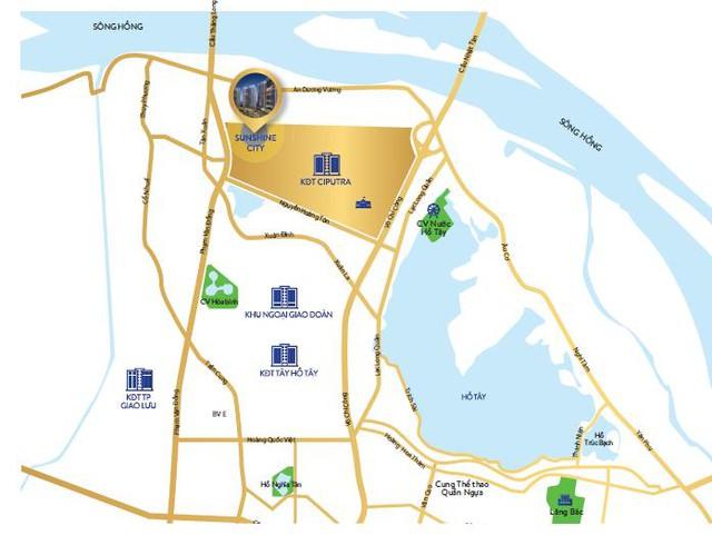 Sunshine City còn sở hữu một vị trí đắt giá ở khu vực phía Tây mạn sông Hồng. Dự án nằm trong quần thể khu đô thị Nam Thăng Long vốn nổi tiếng về giá trị phong thủy, giá trị sống xanh, mát lành cũng như giá trị đất đai đắt đỏ.