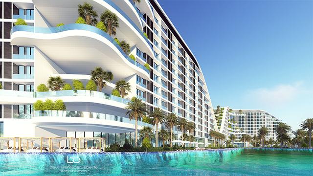 Bể bơi vô cực dài 1 km chạy dọc trước mặt của 4 toà nhà.