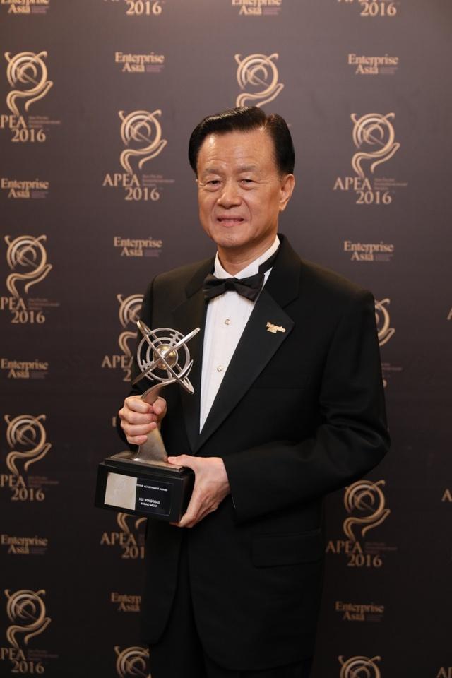 Ông Hui Ming Wao, Tập đoàn Shimao, tỷ phú giàu thứ 288 thế giới theo xếp hạng của Tạp chí Forbes, nhận giải thưởng Doanh nhân Châu Á tại Trung Quốc.