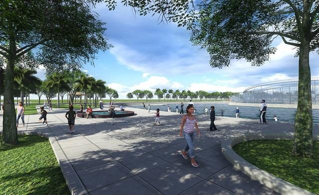 Với cảnh quan công viên hồ xanh mát, cư dân có thể đi dạo, tập thể dục trong môi trường sinh thái, khỏe mạnh.