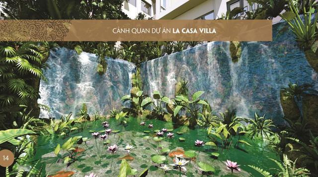 Thác nước thông hầm đẹp như mơ giữa trung tâm dự án La Casa Villa, điều hòa không khí trong cả khu.