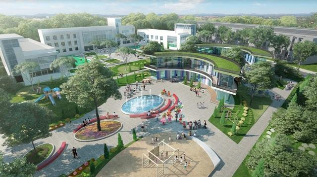 Phối cảnh minh hoạ khu trường học với không gian xanh ngay tại dự án T&T Long.