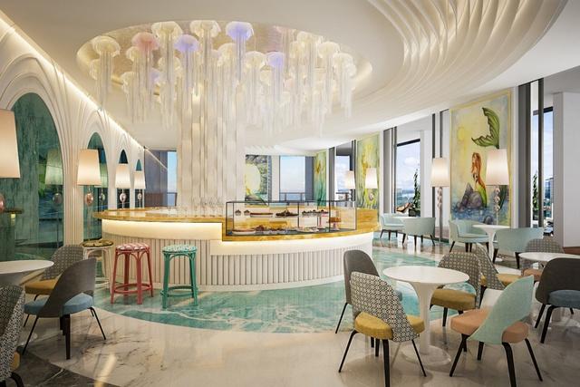 Khu vực Coffee & Lounge với thiết kế như một thủy cung của Nàng Tiên Cá.