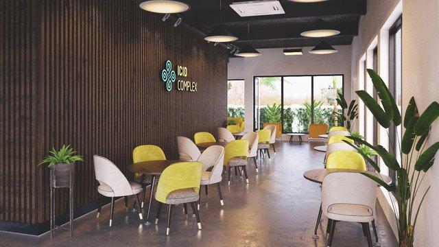 Phòng bán hàng và nhà mẫu ICID Complex được xây dựng trên 4 căn biệt thự song lập.