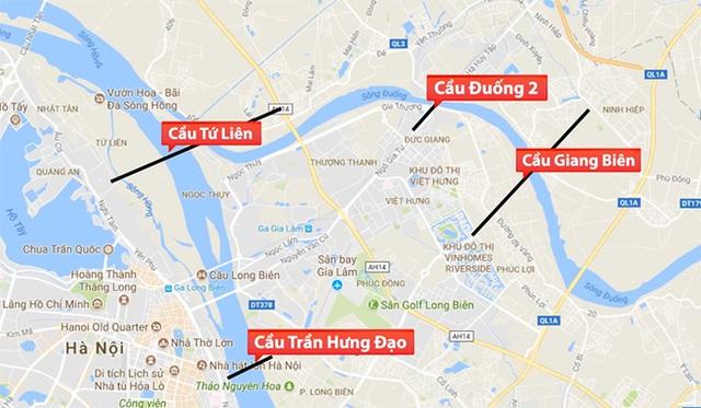 Bốn cây cầu mới ôm trọn khu vực quận Long Biên.