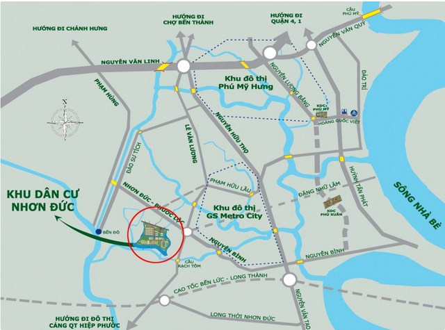 Khu dân cư Nhơn Đức có vị trí giao thông thuận lợi.