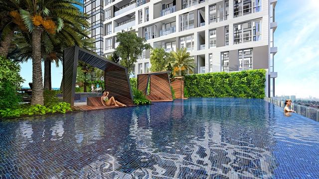 Bể bơi tràn nhiệt đới một trong những tiện ích cao cấp được sử dụng miễn phí trọn đời dành riêng cho 5 Seasons.