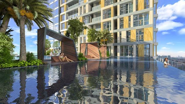 Một trong những điểm nhấn của tòa nhà là bể bơi tràn nhiệt đới theo tiêu chuẩn 5 sao.
