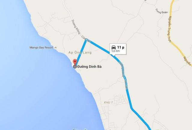 Bãi Ông Lang nằm tại ấp Ông Lang, chỉ cách thị trấn Dương Đông 11 phút lái xe.