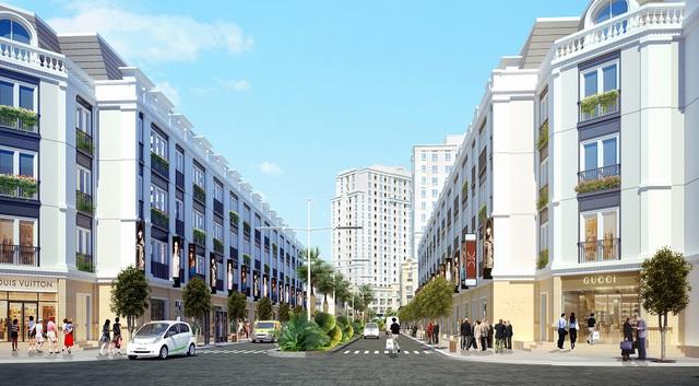 Shophouse Eurowindow Park City được thiết kế hai mặt tiền thoáng đãng, phù hợp nhu cầu vừa để ở vừa để kinh doanh thuận tiện.