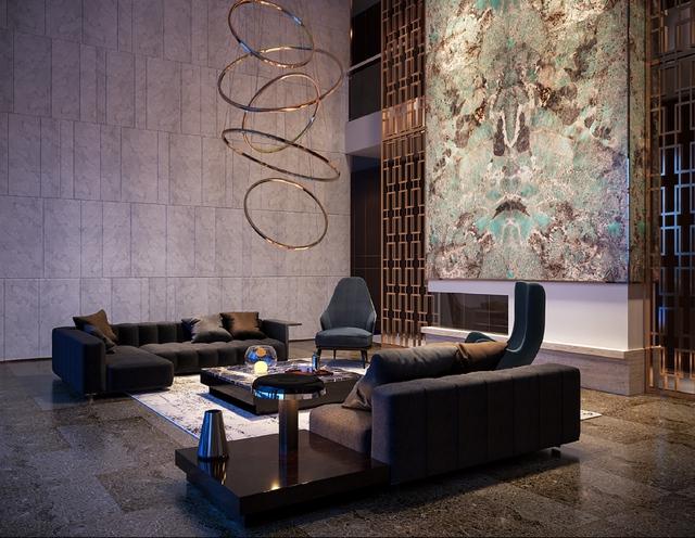 Không thể nào diễn tả được vẻ đẹp mà bức tranh khổ lớn Amazonite mang lại cho căn phòng khách này.