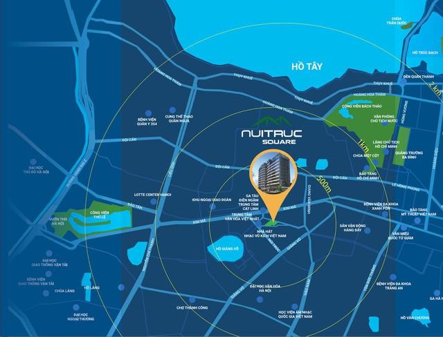Dự án Núi Trúc Square tọa lạc ở 17 1 vài con phố Núi Trúc, Ba Đình, trọng điểm thủ đô Hà Nội.