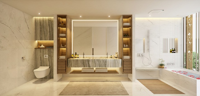 Phòng tắm được ốp lát toàn bộ bằng đá cẩm thạch tấm lớn.