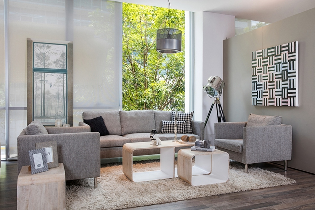 Phòng khách hiện đại mang tông màu tinh giản (ảnh nhaxinh.com).