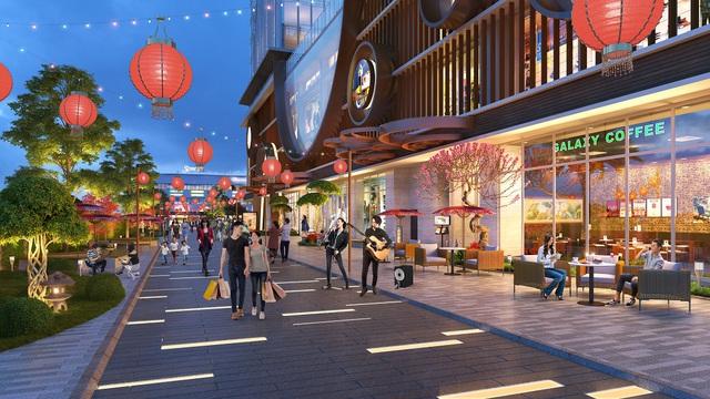 Khu phố đèn lồng tượng trưng cho hành hỏa một góc tiện ích mang phong cách Nhật Bản tại Hinode City.