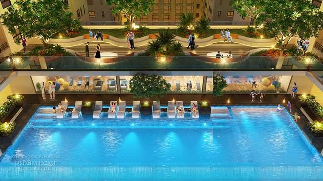 Hồ bơi Tropics Pools thoáng mát và nghệ thuật ngay giữa lòng khu căn hộ sẽ là nơi tận hưởng cuộc sống trọn vẹn.
